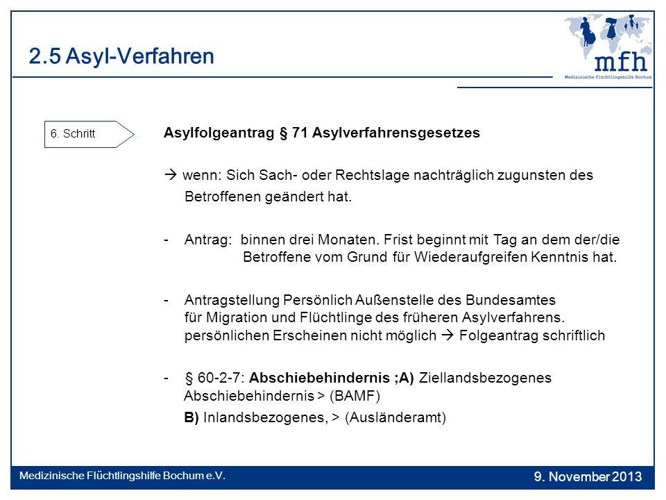 2.5 Asyl-Verfahren 6. Schritt Asylfolgeantrag § 71 Asylverfahrensgesetzes wenn: Sich Sach- oder Rechtslage nachträglich zugunsten des Betroffenen geän
