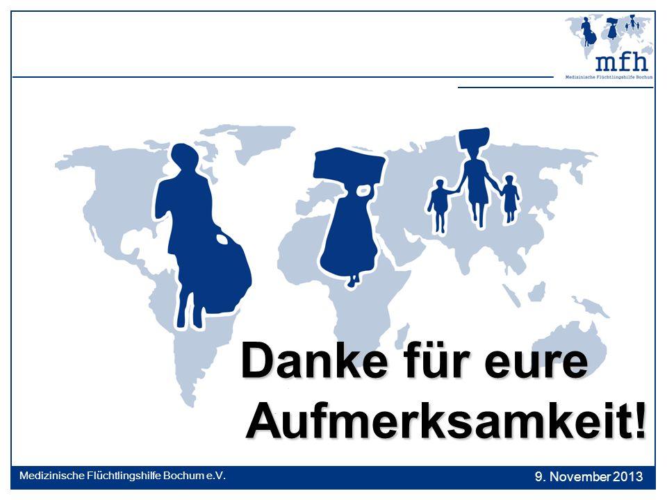 Danke für eure Danke für eure Aufmerksamkeit! Aufmerksamkeit! 9. November 2013 Medizinische Flüchtlingshilfe Bochum e.V.