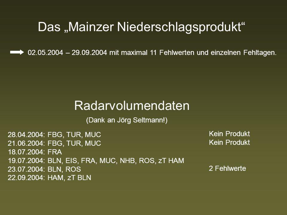 Das Mainzer Niederschlagsprodukt 02.05.2004 – 29.09.2004 mit maximal 11 Fehlwerten und einzelnen Fehltagen.