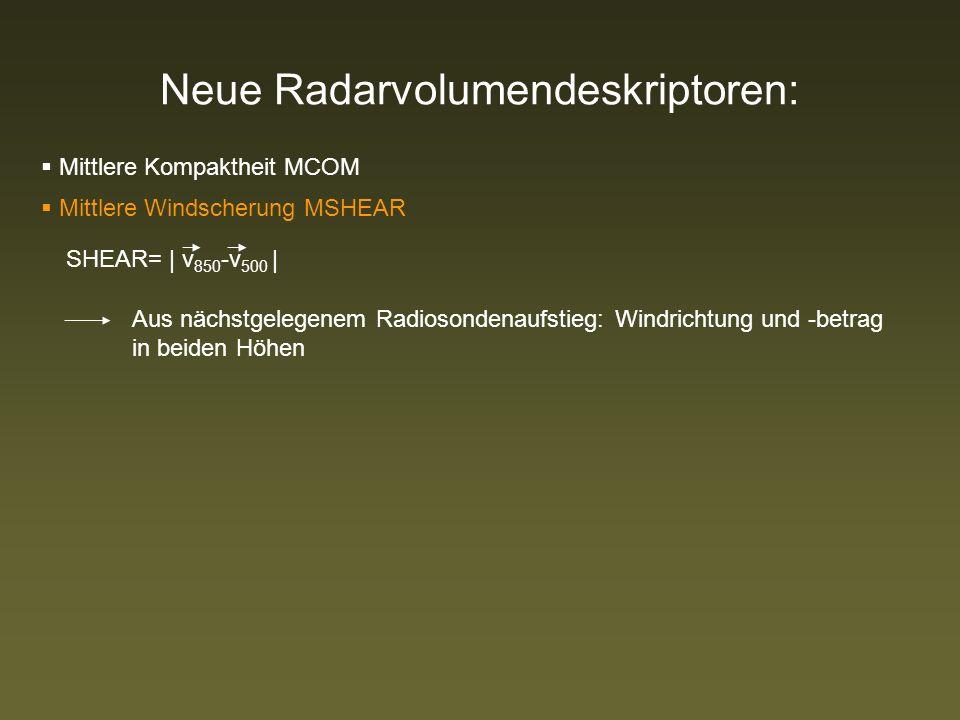 Neue Radarvolumendeskriptoren: Mittlere Kompaktheit MCOM Mittlere Windscherung MSHEAR SHEAR= | v 850 -v 500 | Aus nächstgelegenem Radiosondenaufstieg: Windrichtung und -betrag in beiden Höhen