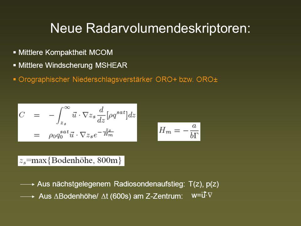 Neue Radarvolumendeskriptoren: Mittlere Kompaktheit MCOM Mittlere Windscherung MSHEAR Orographischer Niederschlagsverstärker ORO+ bzw.
