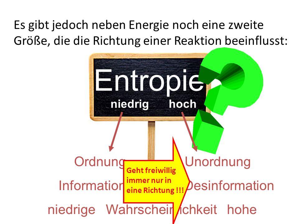 Es gibt jedoch neben Energie noch eine zweite Größe, die die Richtung einer Reaktion beeinflusst: Entropie Ordnung Unordnung Information Desinformatio