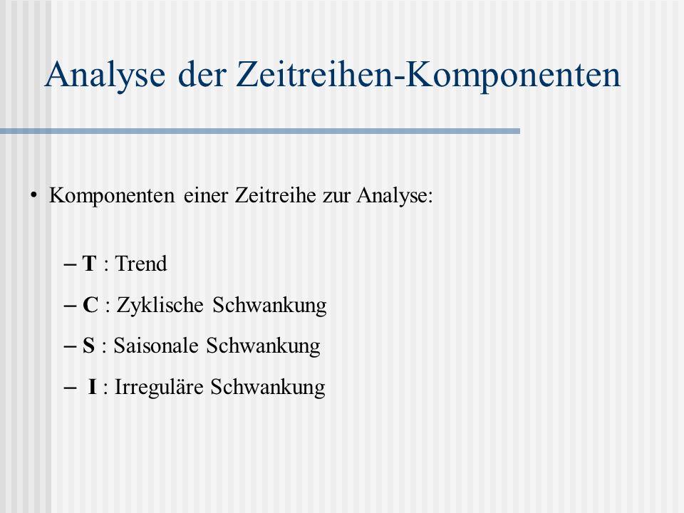 Analyse der Zeitreihen-Komponenten Komponenten einer Zeitreihe zur Analyse: – T : Trend – C : Zyklische Schwankung – S : Saisonale Schwankung – I : Ir