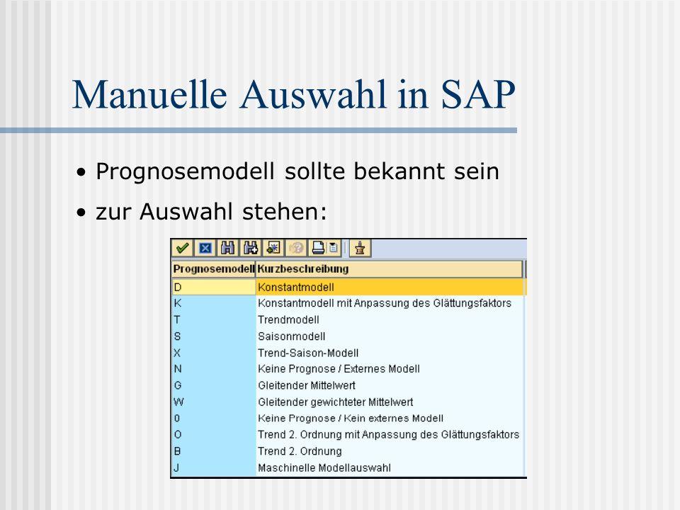 Manuelle Auswahl in SAP Prognosemodell sollte bekannt sein zur Auswahl stehen: