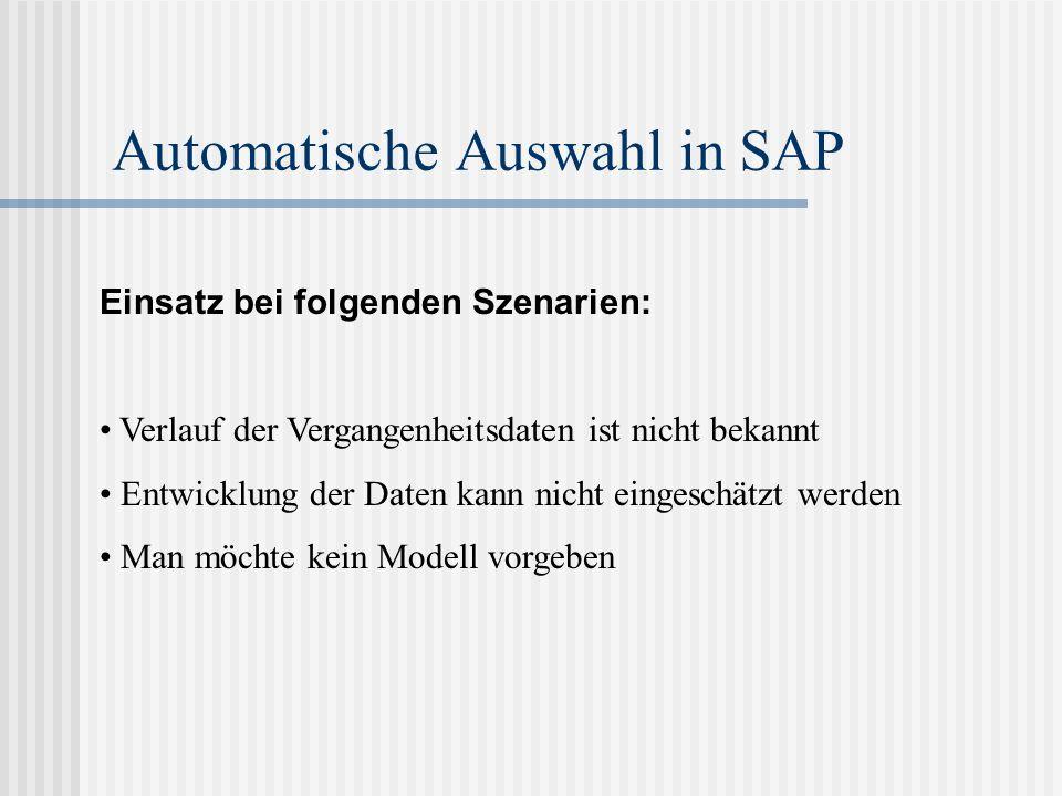 Automatische Auswahl in SAP Einsatz bei folgenden Szenarien: Verlauf der Vergangenheitsdaten ist nicht bekannt Entwicklung der Daten kann nicht einges