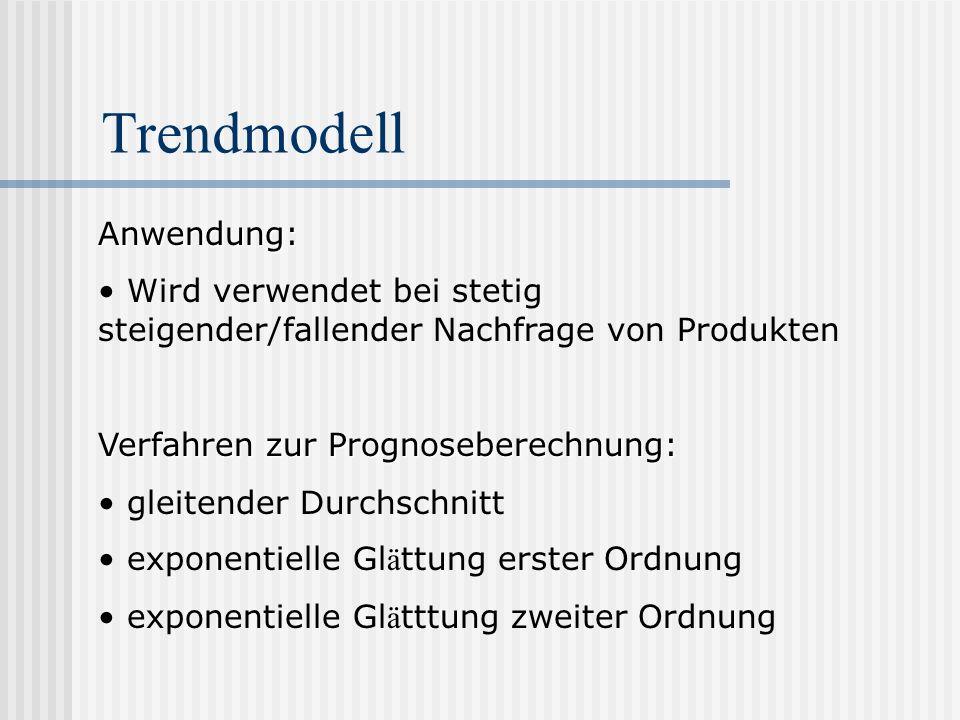 Trendmodell Anwendung: Wird verwendet bei stetig steigender/fallender Nachfrage von Produkten Verfahren zur Prognoseberechnung: gleitender Durchschnit