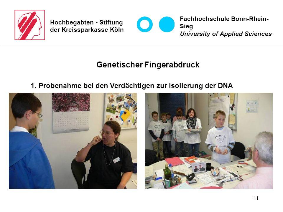11 Hochbegabten - Stiftung der Kreissparkasse Köln Fachhochschule Bonn-Rhein- Sieg University of Applied Sciences Genetischer Fingerabdruck 1.