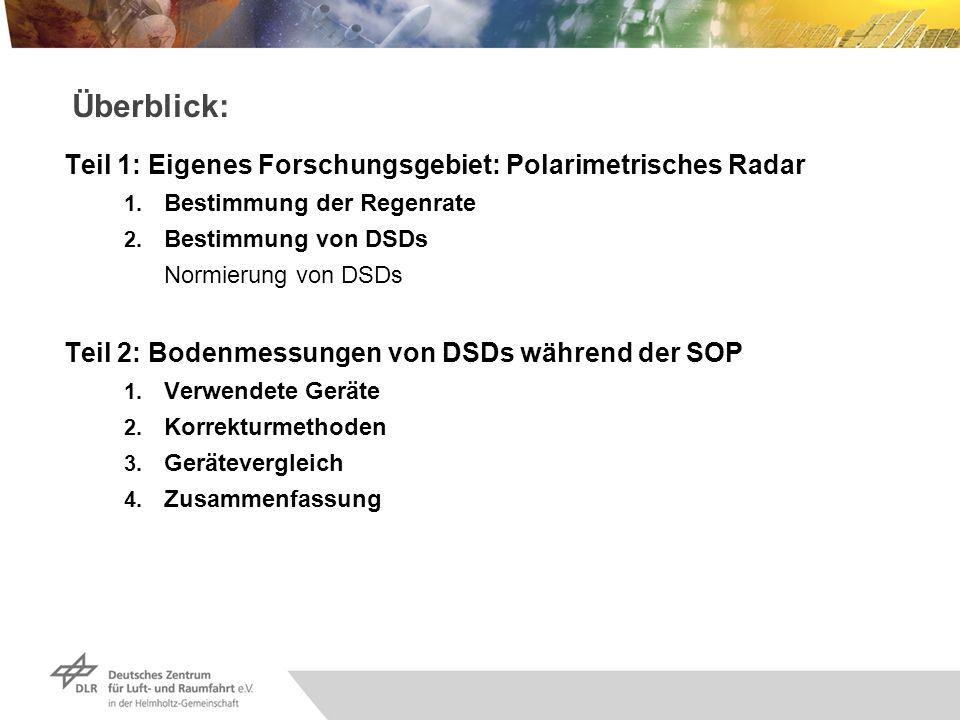 Überblick: Teil 1: Eigenes Forschungsgebiet: Polarimetrisches Radar 1. Bestimmung der Regenrate 2. Bestimmung von DSDs Normierung von DSDs Teil 2: Bod