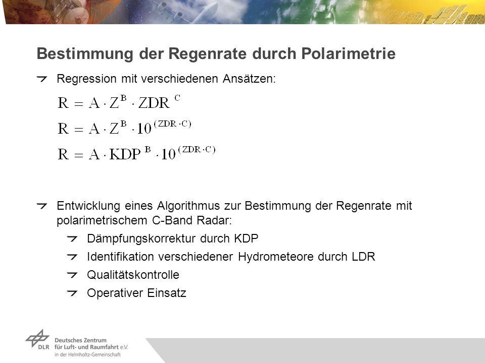 Bestimmung der Regenrate durch Polarimetrie Regression mit verschiedenen Ansätzen: Entwicklung eines Algorithmus zur Bestimmung der Regenrate mit pola