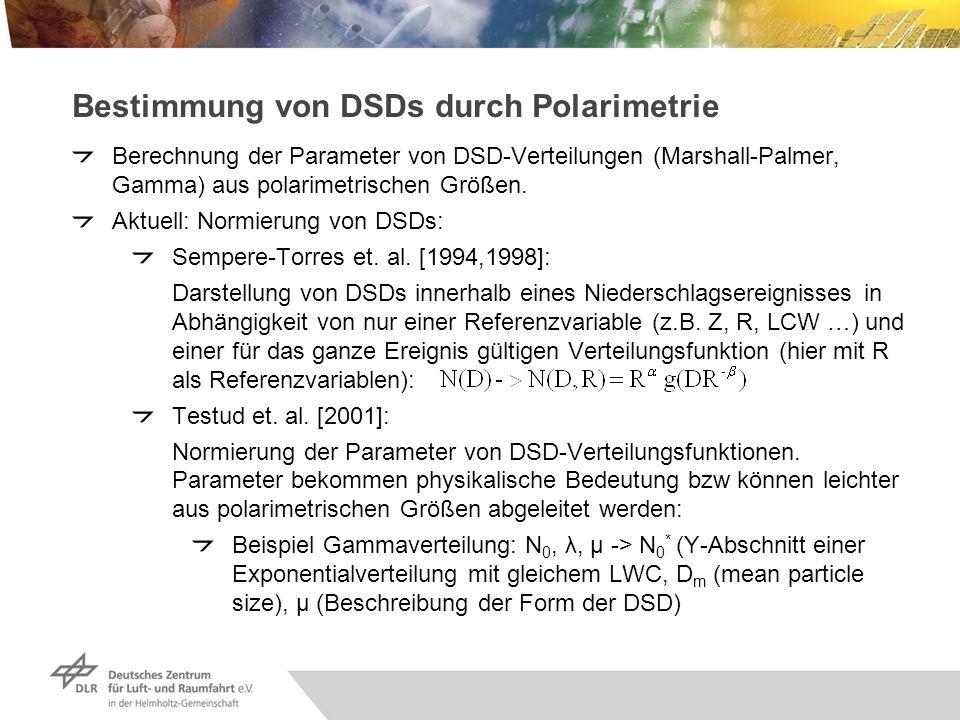 Bestimmung von DSDs durch Polarimetrie Berechnung der Parameter von DSD-Verteilungen (Marshall-Palmer, Gamma) aus polarimetrischen Größen. Aktuell: No