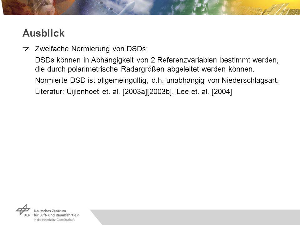 Ausblick Zweifache Normierung von DSDs: DSDs können in Abhängigkeit von 2 Referenzvariablen bestimmt werden, die durch polarimetrische Radargrößen abg