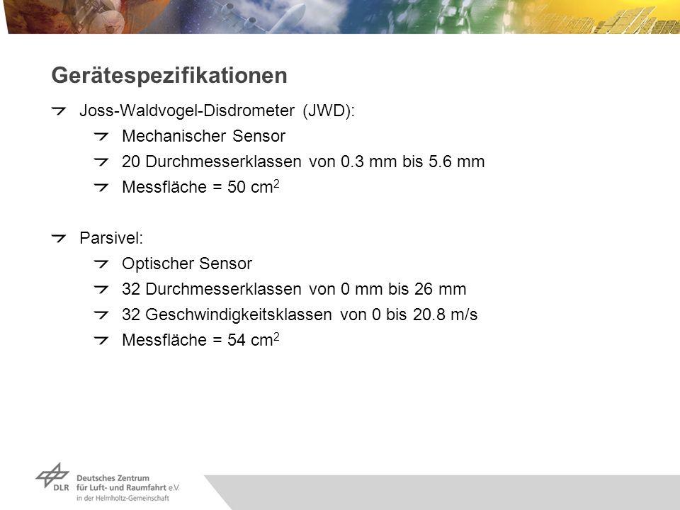 Gerätespezifikationen Joss-Waldvogel-Disdrometer (JWD): Mechanischer Sensor 20 Durchmesserklassen von 0.3 mm bis 5.6 mm Messfläche = 50 cm 2 Parsivel:
