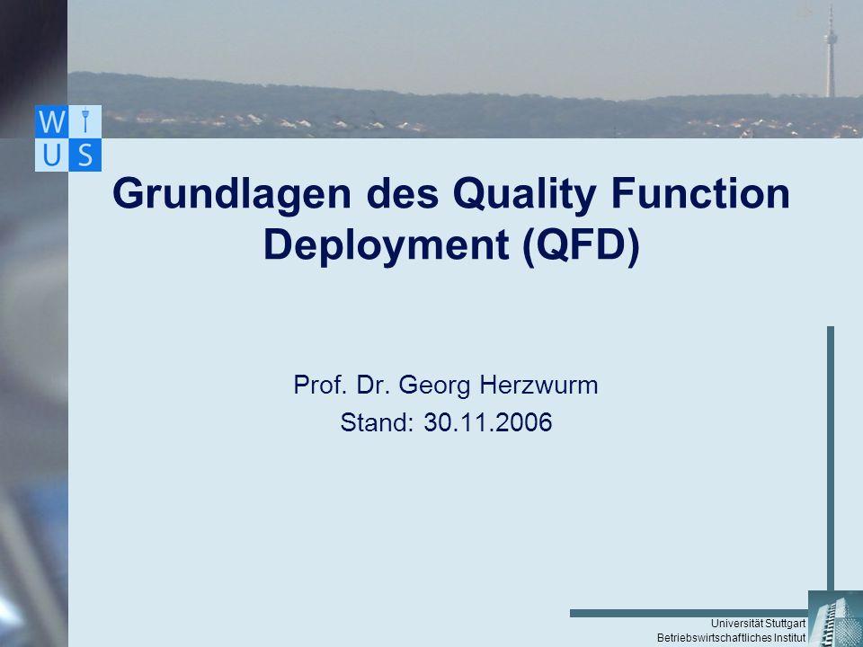 Universität Stuttgart Betriebswirtschaftliches Institut Grundlagen des Quality Function Deployment (QFD) Prof. Dr. Georg Herzwurm Stand: 30.11.2006