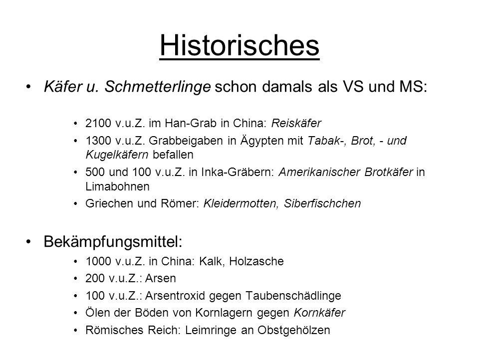 Historisches Käfer u. Schmetterlinge schon damals als VS und MS: 2100 v.u.Z. im Han-Grab in China: Reiskäfer 1300 v.u.Z. Grabbeigaben in Ägypten mit T