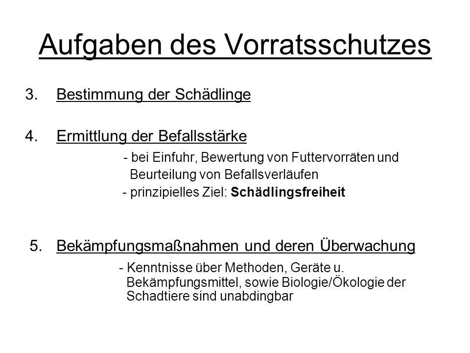 Aufgaben des Vorratsschutzes 3.Bestimmung der Schädlinge 4.Ermittlung der Befallsstärke - bei Einfuhr, Bewertung von Futtervorräten und Beurteilung vo