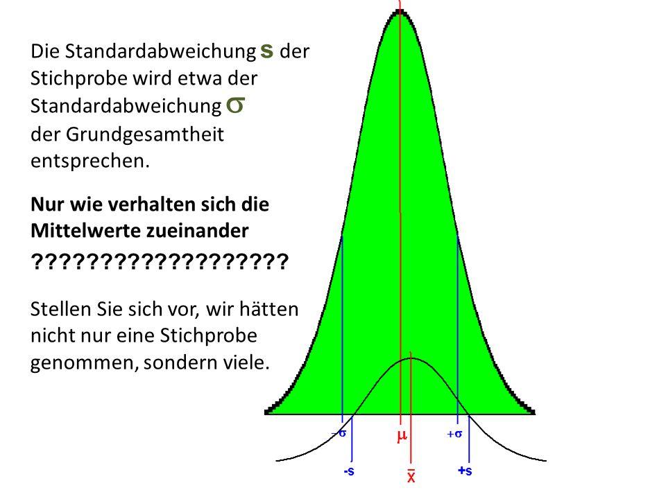 Nur wie verhalten sich die Mittelwerte zueinander ??????????????????? Die Standardabweichung s der Stichprobe wird etwa der Standardabweichung der Gru