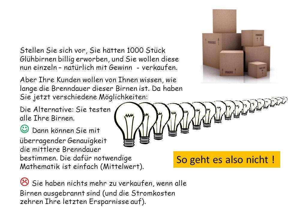 Stellen Sie sich vor, Sie hätten 1000 Stück Glühbirnen billig erworben, und Sie wollen diese nun einzeln – natürlich mit Gewinn - verkaufen. Die Alter