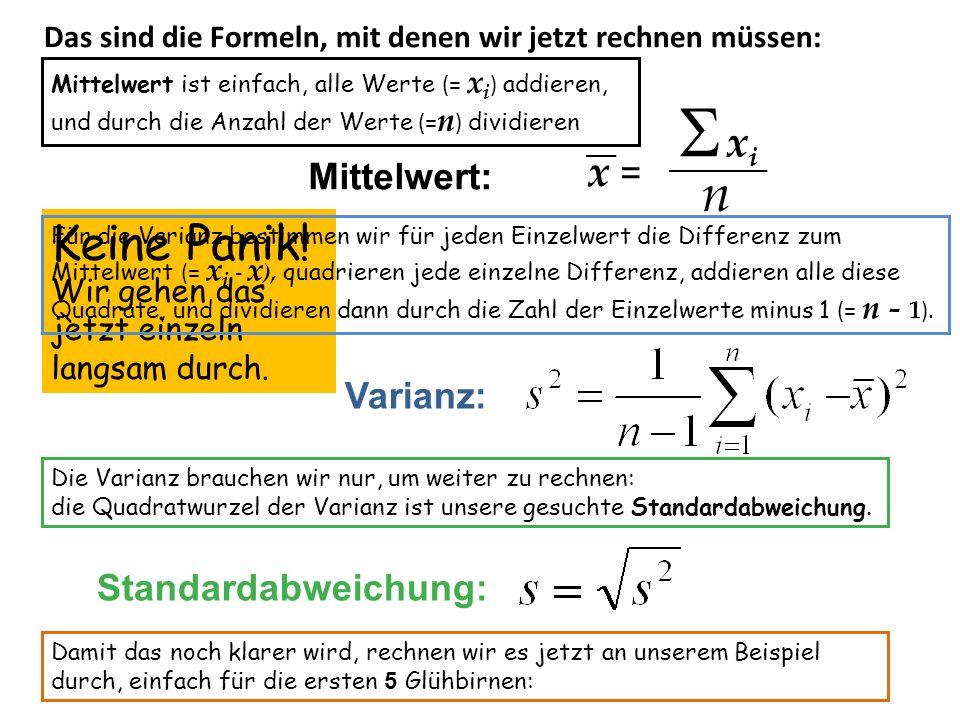 Varianz: Standardabweichung: Mittelwert: x = x i n Keine Panik! Wir gehen das jetzt einzeln langsam durch. Das sind die Formeln, mit denen wir jetzt r