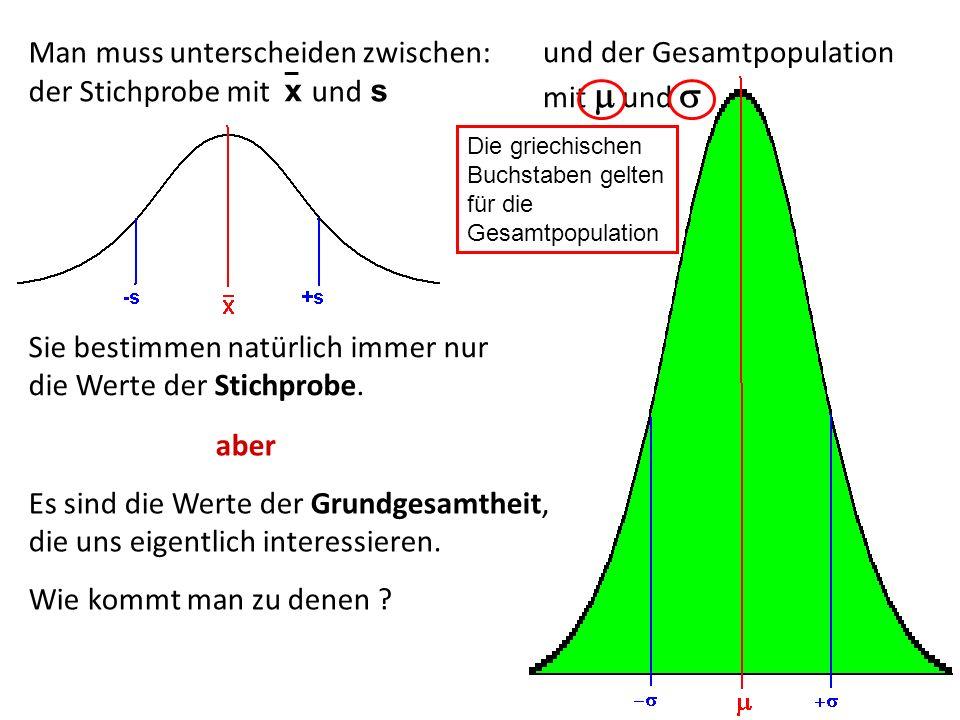 Man muss unterscheiden zwischen: der Stichprobe mit x und s _ und der Gesamtpopulation mit und Sie bestimmen natürlich immer nur die Werte der Stichpr