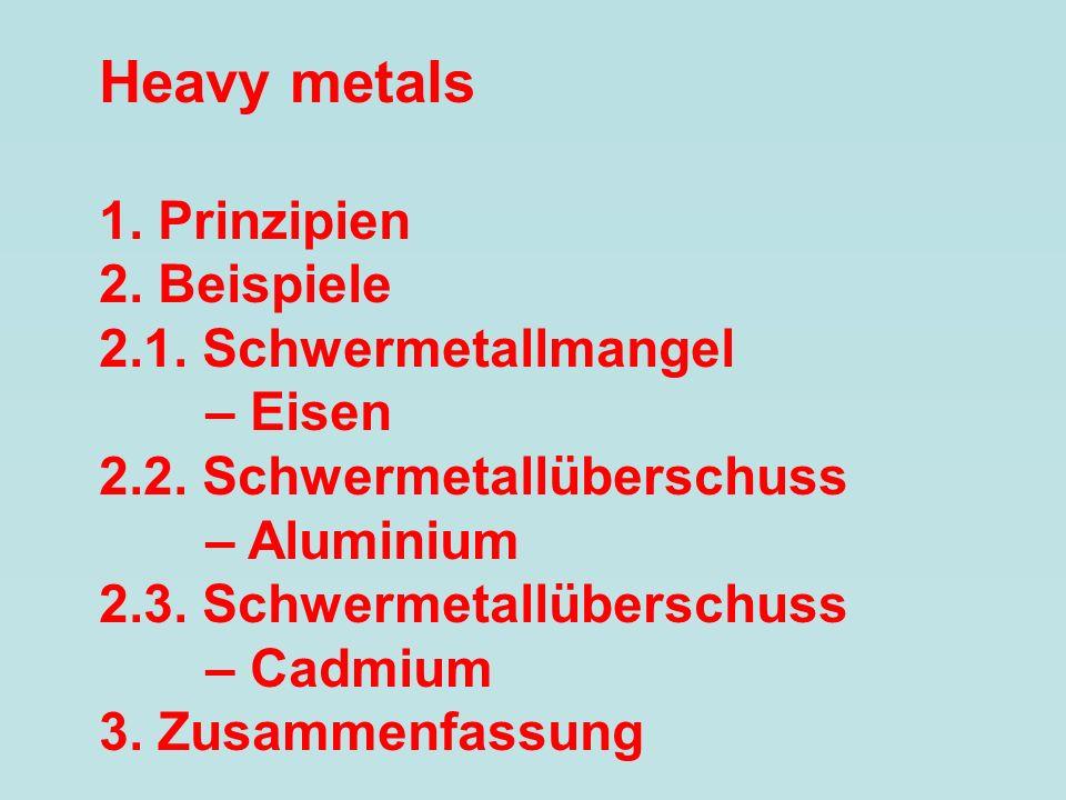 Heavy metals 1. Prinzipien 2. Beispiele 2.1. Schwermetallmangel – Eisen 2.2. Schwermetallüberschuss – Aluminium 2.3. Schwermetallüberschuss – Cadmium