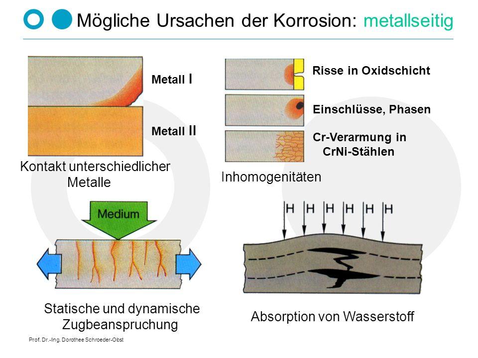 Prof. Dr.-Ing. Dorothee Schroeder-Obst Mögliche Ursachen der Korrosion: metallseitig Metall I Metall II Kontakt unterschiedlicher Metalle Risse in Oxi