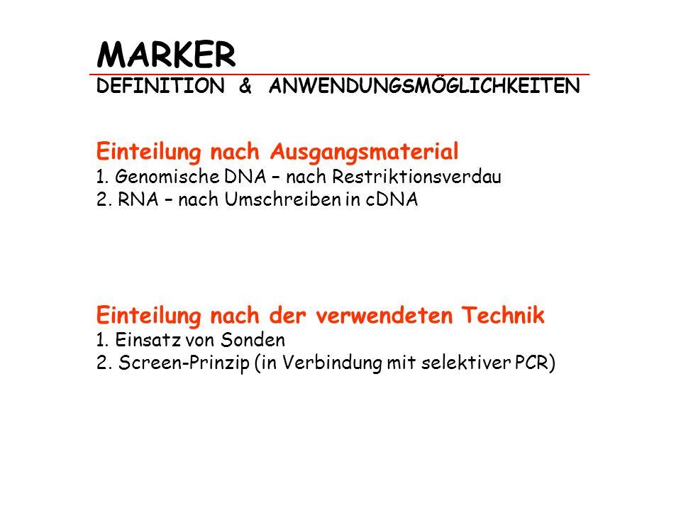MARKER DEFINITION & ANWENDUNGSMÖGLICHKEITEN Einteilung nach Ausgangsmaterial 1. Genomische DNA – nach Restriktionsverdau 2. RNA – nach Umschreiben in