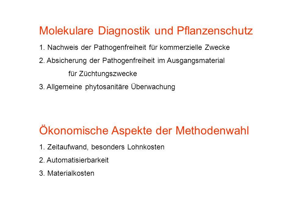 Molekulare Diagnostik und Pflanzenschutz 1. Nachweis der Pathogenfreiheit für kommerzielle Zwecke 2. Absicherung der Pathogenfreiheit im Ausgangsmater
