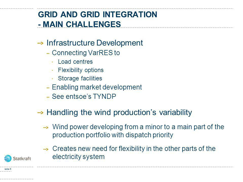 GRID AND GRID INTEGRATION - MAIN CHALLENGES Infrastructure Development Connecting VarRES to Load centres Flexibility options Storage facilities Enabli