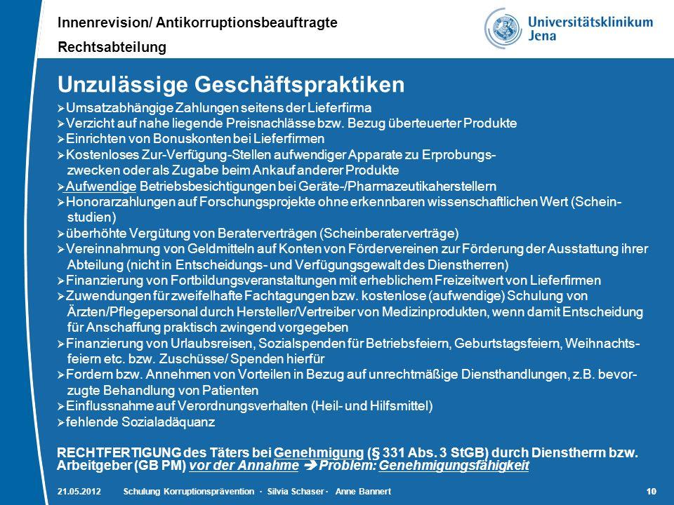 Innenrevision/ Antikorruptionsbeauftragte Rechtsabteilung 10 21.05.2012Schulung Korruptionsprävention · Silvia Schaser · Anne Bannert10 Unzulässige Ge