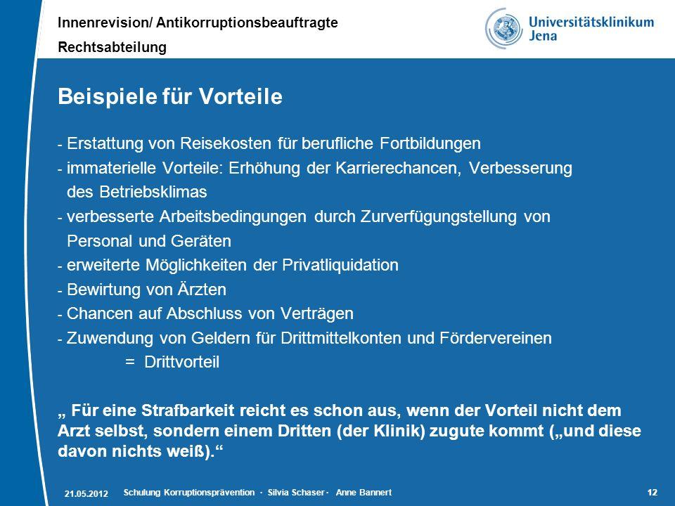Innenrevision/ Antikorruptionsbeauftragte Rechtsabteilung 12 Beispiele für Vorteile - Erstattung von Reisekosten für berufliche Fortbildungen - immate