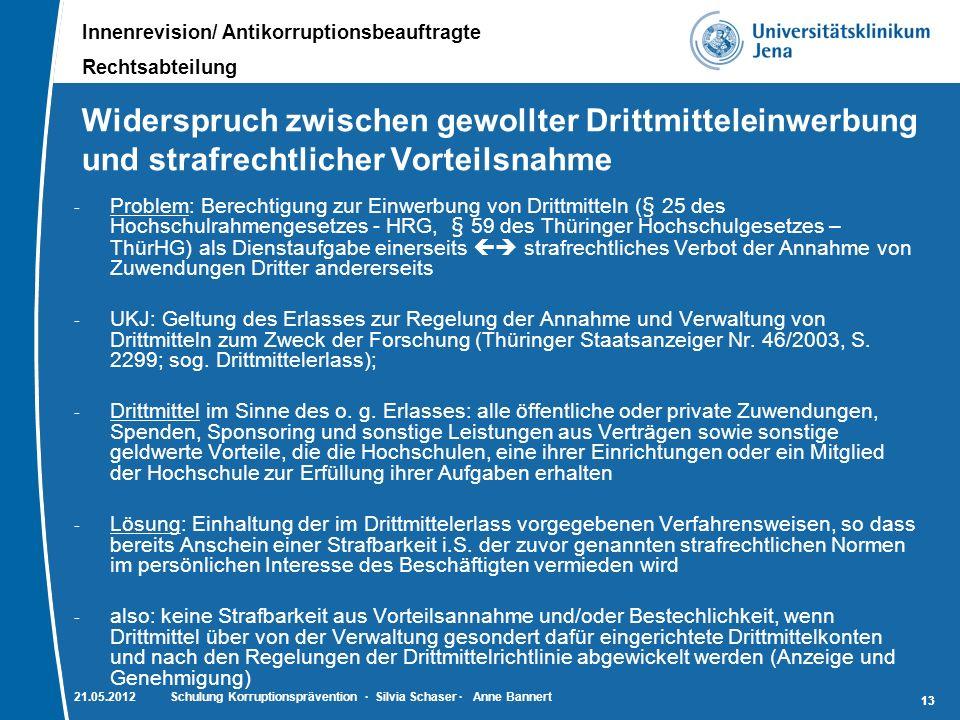 Innenrevision/ Antikorruptionsbeauftragte Rechtsabteilung 13 Widerspruch zwischen gewollter Drittmitteleinwerbung und strafrechtlicher Vorteilsnahme -