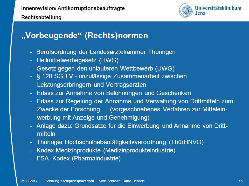 Innenrevision/ Antikorruptionsbeauftragte Rechtsabteilung 15 21.05.2012Schulung Korruptionsprävention · Silvia Schaser · Anne Bannert15 Vorbeugende (R