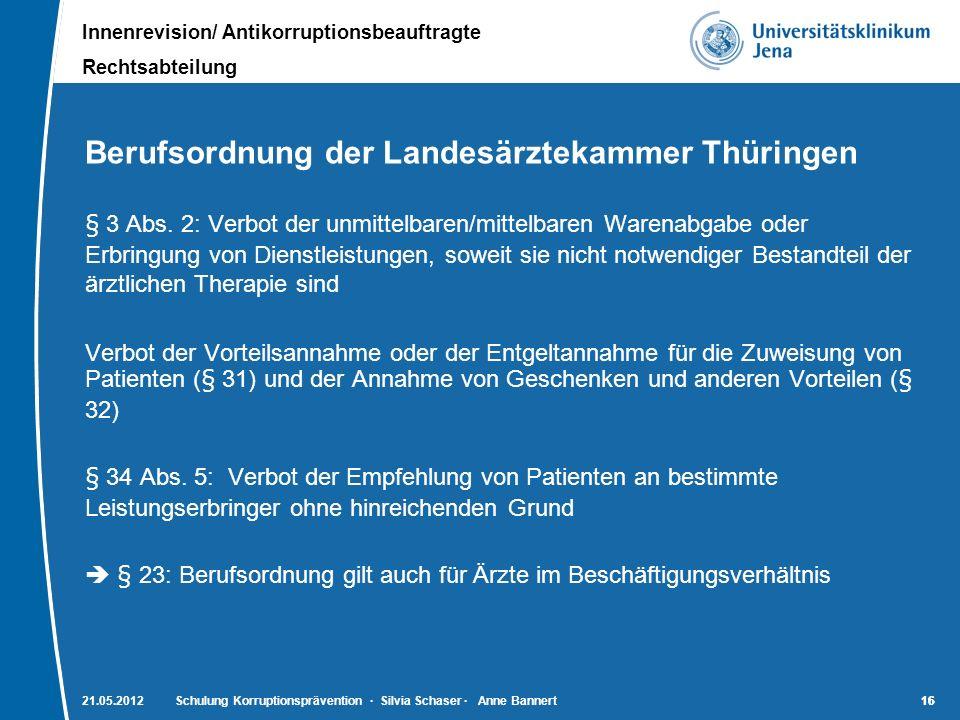Innenrevision/ Antikorruptionsbeauftragte Rechtsabteilung 16 Berufsordnung der Landesärztekammer Thüringen § 3 Abs. 2: Verbot der unmittelbaren/mittel