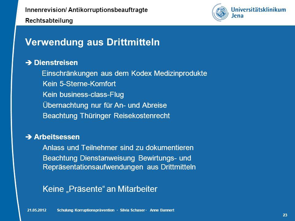 Innenrevision/ Antikorruptionsbeauftragte Rechtsabteilung 23 Verwendung aus Drittmitteln Dienstreisen Einschränkungen aus dem Kodex Medizinprodukte Ke