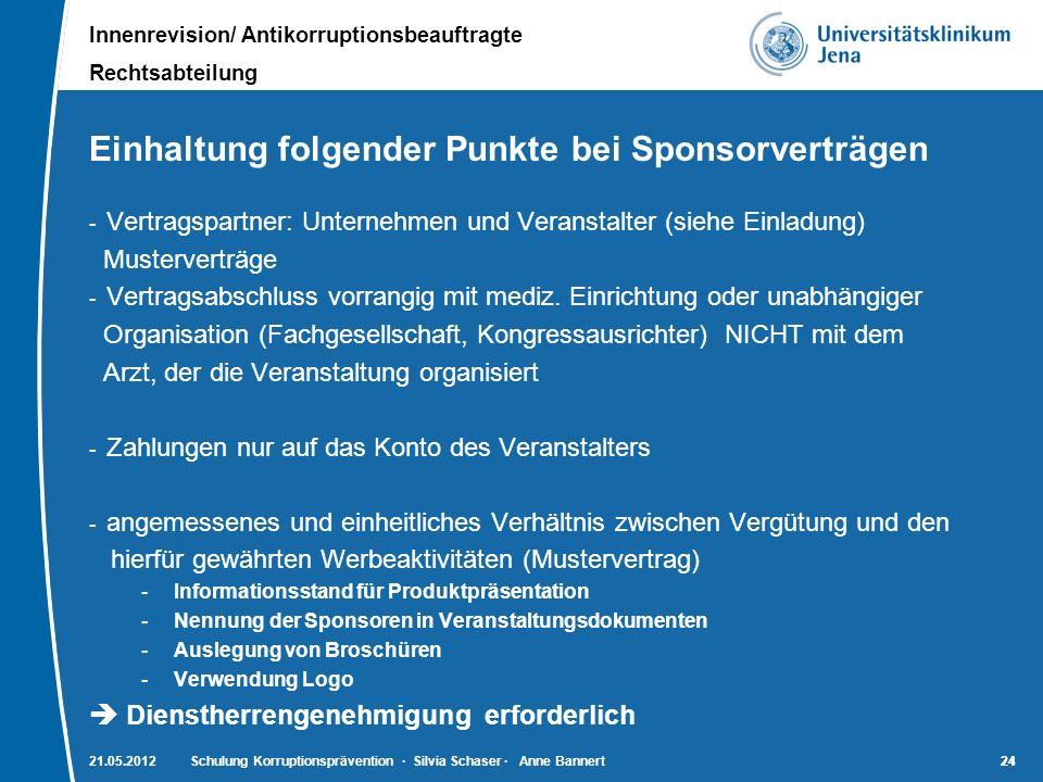 Innenrevision/ Antikorruptionsbeauftragte Rechtsabteilung 24 Einhaltung folgender Punkte bei Sponsorverträgen - Vertragspartner: Unternehmen und Veran