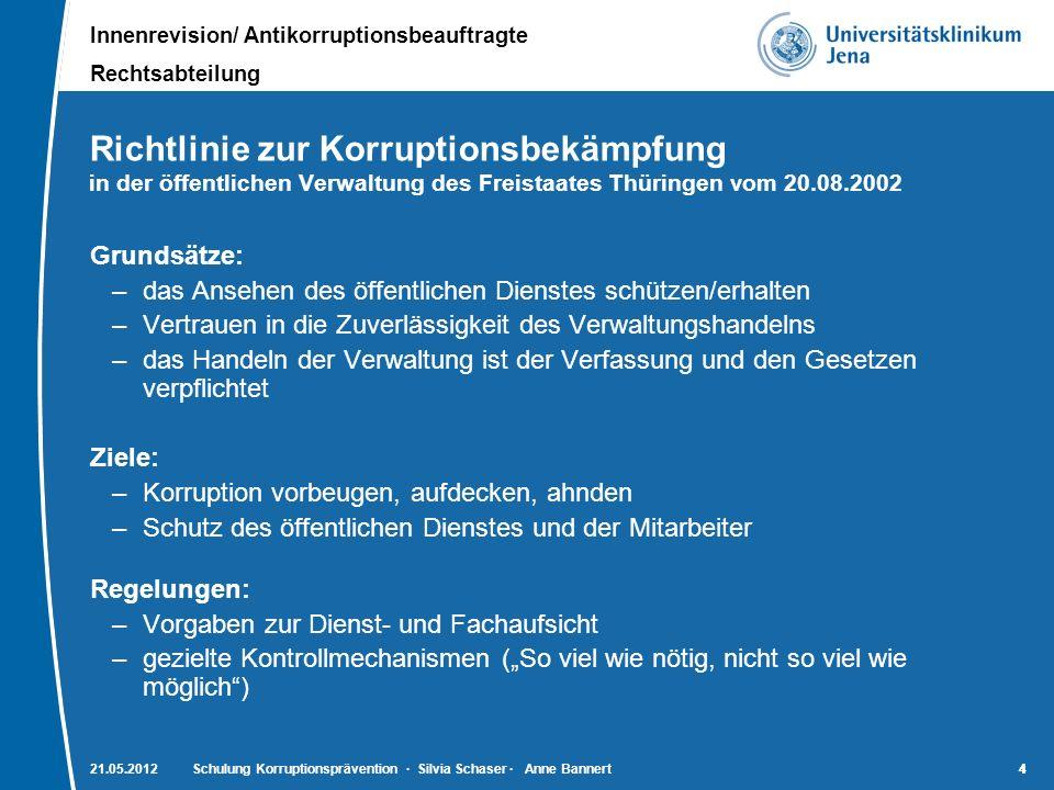 Innenrevision/ Antikorruptionsbeauftragte Rechtsabteilung 15 21.05.2012Schulung Korruptionsprävention · Silvia Schaser · Anne Bannert15 Vorbeugende (Rechts)normen - Berufsordnung der Landesärztekammer Thüringen - Heilmittelwerbegesetz (HWG) - Gesetz gegen den unlauteren Wettbewerb (UWG) - § 128 SGB V - unzulässige Zusammenarbeit zwischen Leistungserbringern und Vertragsärzten - Erlass zur Annahme von Belohnungen und Geschenken - Erlass zur Regelung der Annahme und Verwaltung von Drittmitteln zum Zwecke der Forschung … (vorgeschriebenes Verfahren zur Mittelein- werbung mit Anzeige und Genehmigung) - Anlage dazu: Grundsätze für die Einwerbung und Annahme von Dritt- mitteln - Thüringer Hochschulnebentätigkeitsverordnung (ThürHNVO) - Kodex Medizinprodukte (Medizinprodukteindustrie) - FSA- Kodex (Pharmaindustrie)