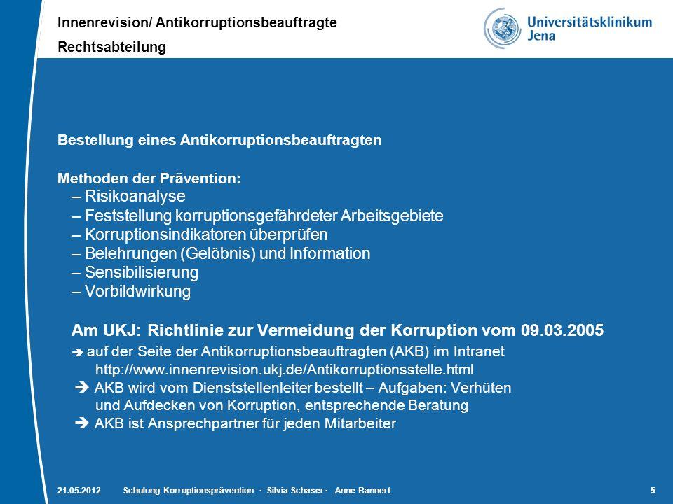 Innenrevision/ Antikorruptionsbeauftragte Rechtsabteilung 5521.05.2012Schulung Korruptionsprävention · Silvia Schaser · Anne Bannert5 Bestellung eines