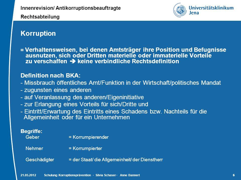 Innenrevision/ Antikorruptionsbeauftragte Rechtsabteilung 7721.05.2012Schulung Korruptionsprävention · Silvia Schaser · Anne Bannert7 Strafrechtliche Ausprägungsformen der Korruption Vorbemerkung: sind Teil des Gesetzes zur Bekämpfung der Korruption vom 13.08.1997 entsprechende Regelung in Artikel 1 des genannten Gesetzes § 331 StGB – Vorteilsannahme (1) Ein Amtsträger …, der für die Dienstausübung einen Vorteil für sich oder einen Dritten fordert, sich versprechen lässt oder annimmt, wird mit Freiheitsstrafe bis zu drei Jahren oder mit Geldstrafe bestraft.