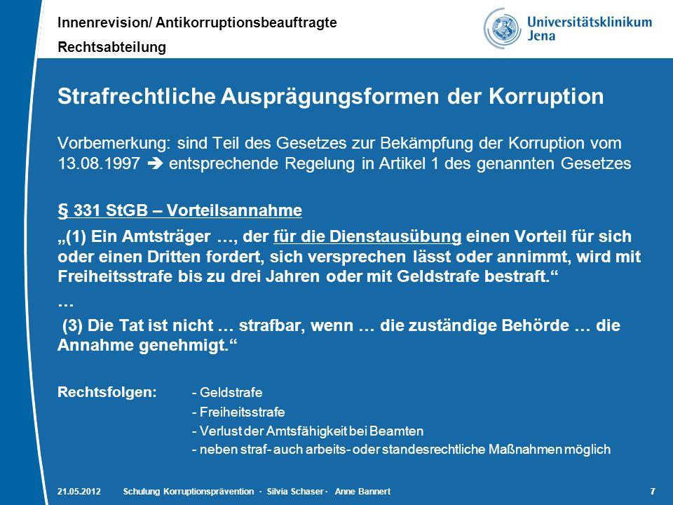 Innenrevision/ Antikorruptionsbeauftragte Rechtsabteilung 7721.05.2012Schulung Korruptionsprävention · Silvia Schaser · Anne Bannert7 Strafrechtliche