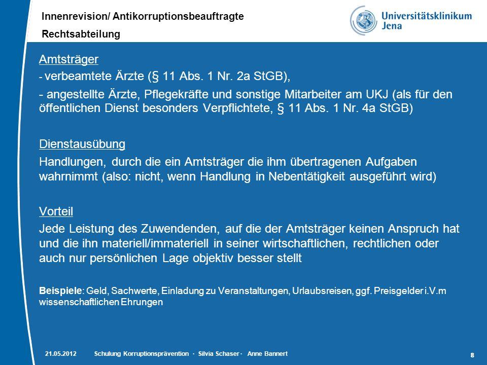 Innenrevision/ Antikorruptionsbeauftragte Rechtsabteilung 88 Amtsträger - verbeamtete Ärzte (§ 11 Abs. 1 Nr. 2a StGB), - angestellte Ärzte, Pflegekräf