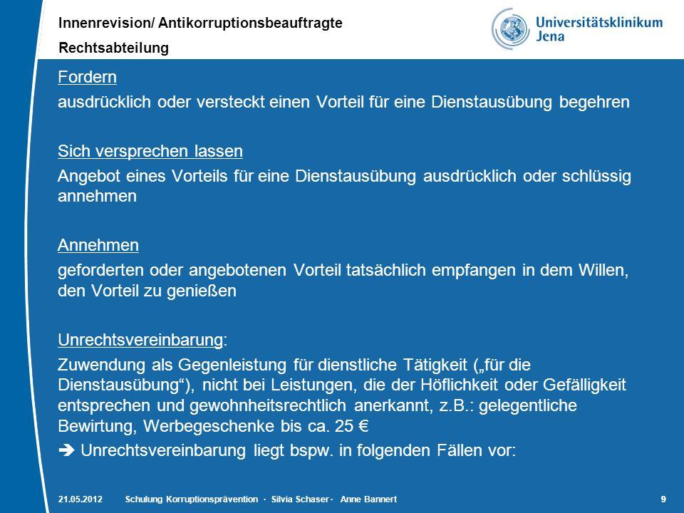 Innenrevision/ Antikorruptionsbeauftragte Rechtsabteilung 10 21.05.2012Schulung Korruptionsprävention · Silvia Schaser · Anne Bannert10 Unzulässige Geschäftspraktiken Umsatzabhängige Zahlungen seitens der Lieferfirma Verzicht auf nahe liegende Preisnachlässe bzw.