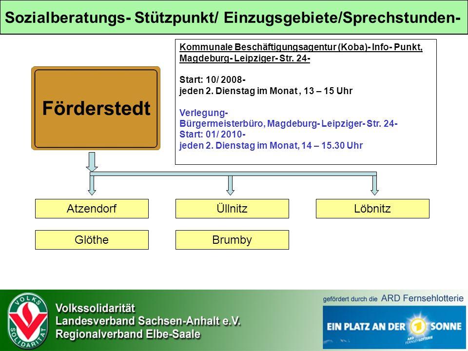 Sozialberatungs- Stützpunkt/ Einzugsgebiete/Sprechstunden- Atzendorf Glöthe Üllnitz Brumby Löbnitz Kommunale Beschäftigungsagentur (Koba)- Info- Punkt, Magdeburg- Leipziger- Str.