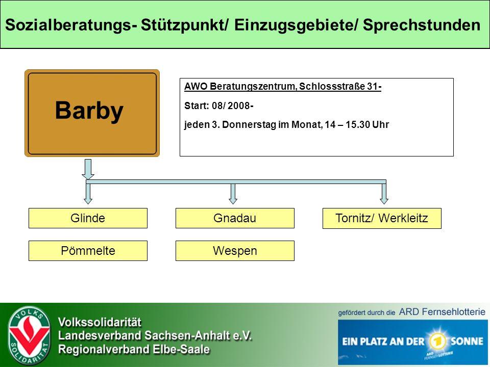 Sozialberatungs- Stützpunkt/ Einzugsgebiete/ Sprechstunden AWO Beratungszentrum, Schlossstraße 31- Start: 08/ 2008- jeden 3.
