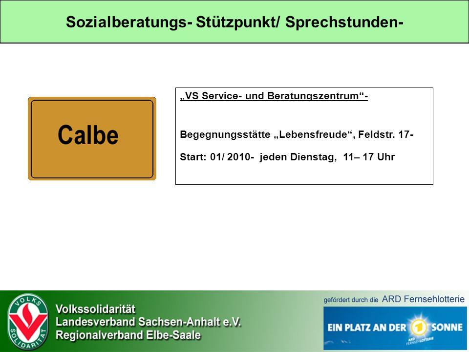 Sozialberatungs- Stützpunkt/ Sprechstunden- VS Service- und Beratungszentrum- Begegnungsstätte Lebensfreude, Feldstr.