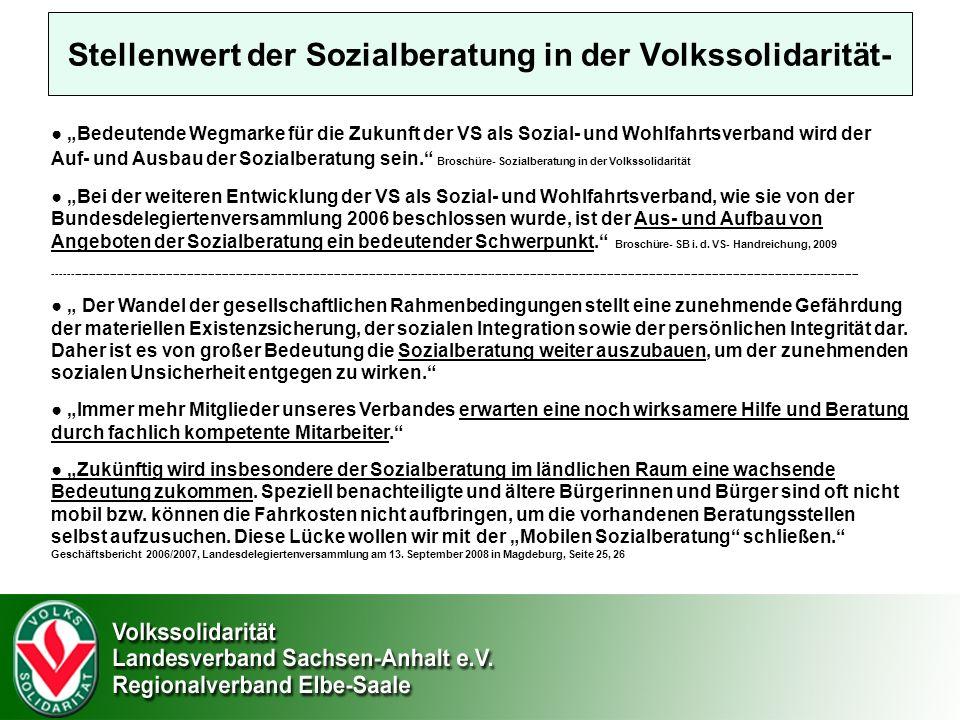 Stellenwert der Sozialberatung in der Volkssolidarität- Bedeutende Wegmarke für die Zukunft der VS als Sozial- und Wohlfahrtsverband wird der Auf- und Ausbau der Sozialberatung sein.