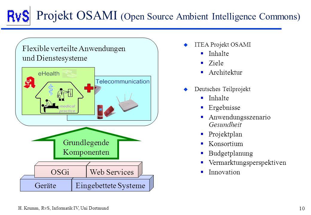 H. Krumm, RvS, Informatik IV, Uni Dortmund 10 Projekt OSAMI (Open Source Ambient Intelligence Commons) u ITEA Projekt OSAMI Inhalte Ziele Architektur