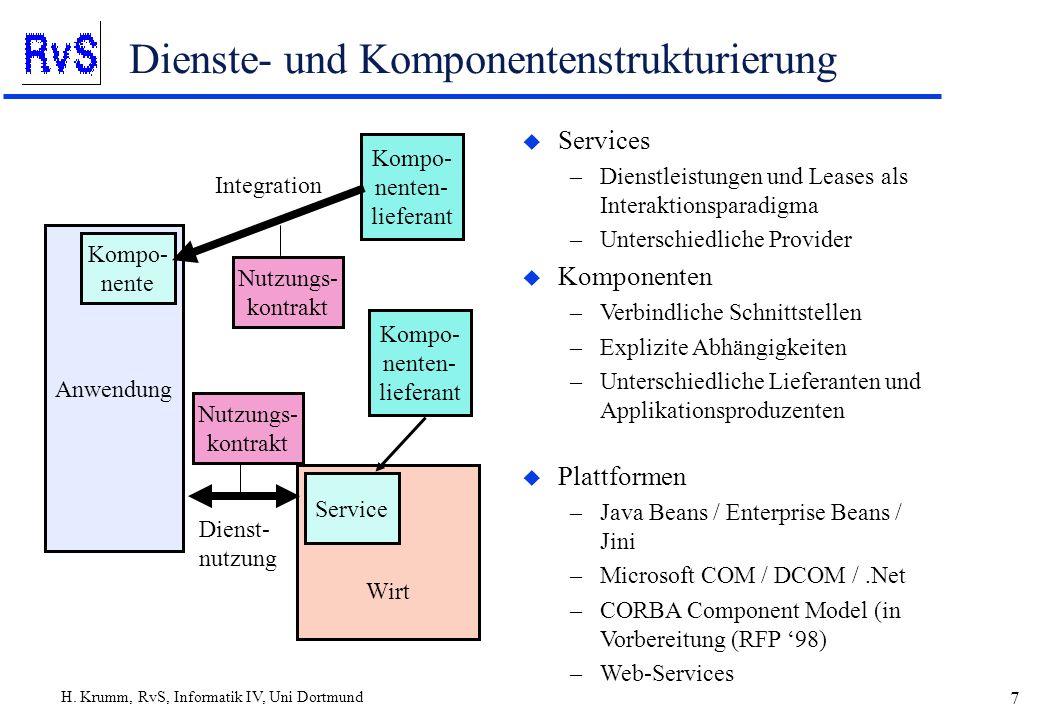 H. Krumm, RvS, Informatik IV, Uni Dortmund 7 Dienste- und Komponentenstrukturierung u Services –Dienstleistungen und Leases als Interaktionsparadigma