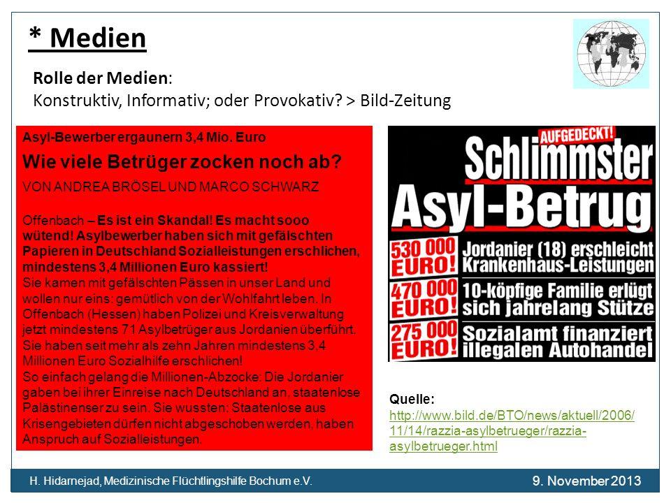 H. Hidarnejad, Medizinische Flüchtlingshilfe Bochum e.V. * Medien Rolle der Medien: Konstruktiv, Informativ; oder Provokativ? > Bild-Zeitung Asyl-Bewe
