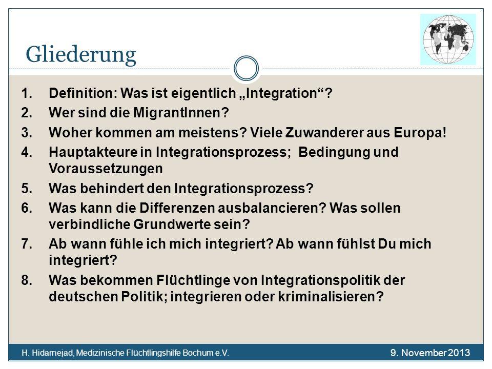 Gliederung H. Hidarnejad, Medizinische Flüchtlingshilfe Bochum e.V. 1.Definition: Was ist eigentlich Integration? 2.Wer sind die MigrantInnen? 3.Woher