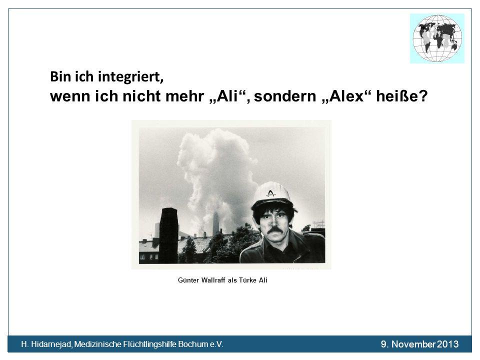 Bin ich integriert, wenn ich nicht mehr Ali, sondern Alex heiße? Günter Wallraff als Türke Ali H. Hidarnejad, Medizinische Flüchtlingshilfe Bochum e.V